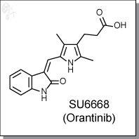 Cellagentech/SU6668 (Orantinib) | KDR/FGFR/PDGFR inhibitor/C7866-5/5 mg (powder)